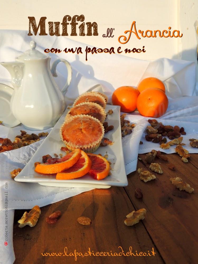 Muffin all' arancia con uva passa e noci - www.lapasticceriadichico.it
