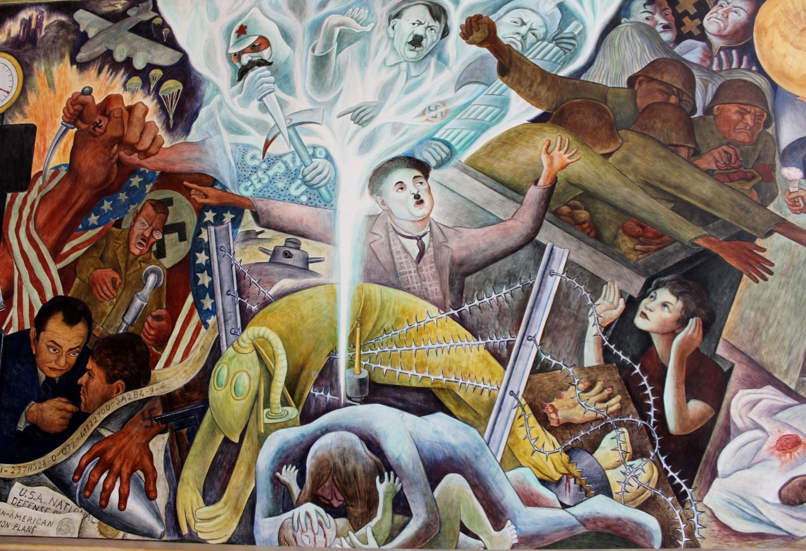 Bay area arts diego rivera 39 s pan american unity mural for Diego rivera mural in san francisco