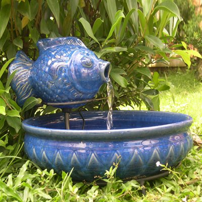 Beautiful garden smart solar 23470r01 ceramic fish for Outdoor fish fountain