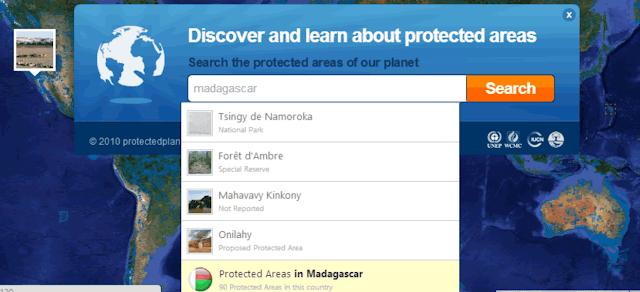 Busca por áreas protegidas pela natureza selvagem de  Madagascar