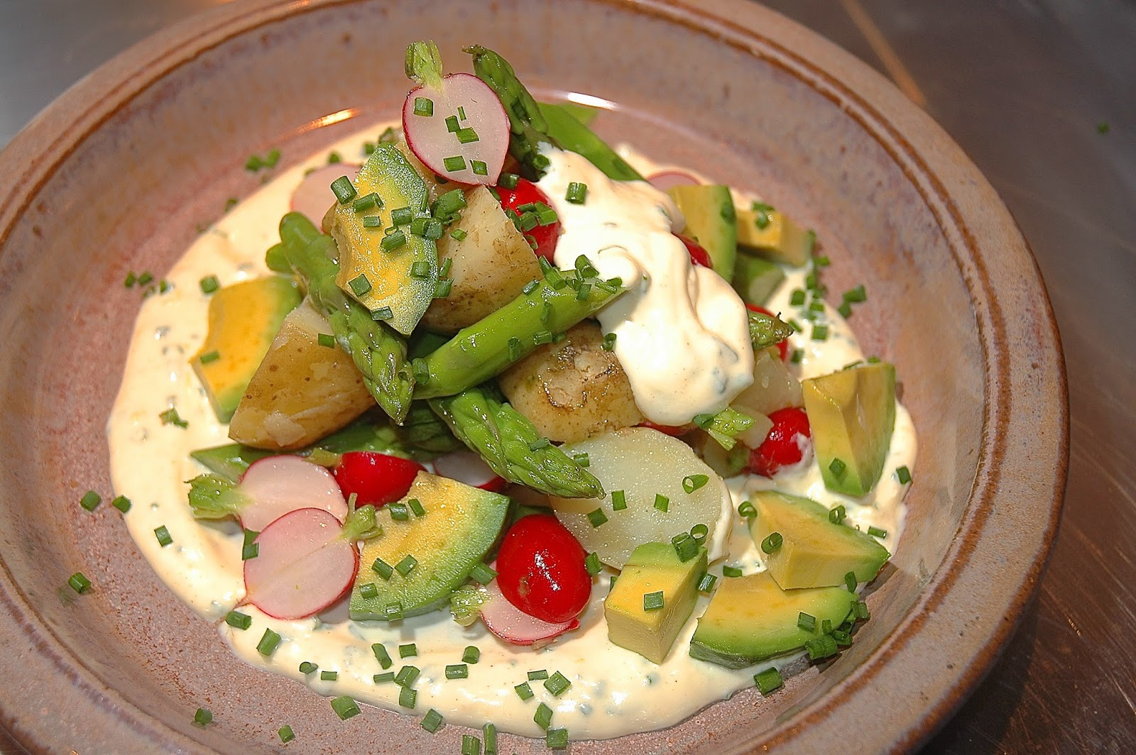 ... Jersey Royals, Radish, Asparagus & Avocado, Crème Fraîche & Chives