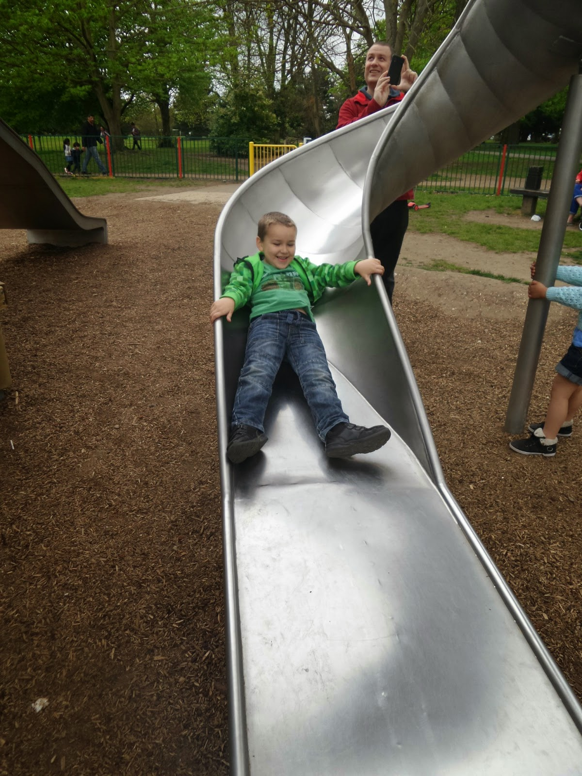 Big Boy on the Slide at Russell Park, Bedford
