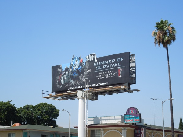 Universal Studios Summer Survival Optimus Prime billboard