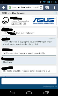 Chat With Asus Rep regarding K009