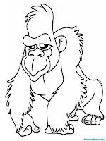 Mewarnai Gambar Gorila Berjalan Sambil Tersenyum Kepada Penonton Dikebun Binatang