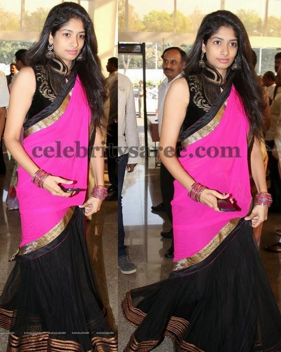 Black Half Saree Fashionable Blouse
