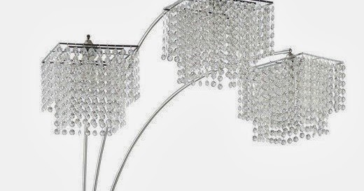 Arc floor lamp coaster poly crystal arc floor lamp for Arc floor lamp with poly crystal shades