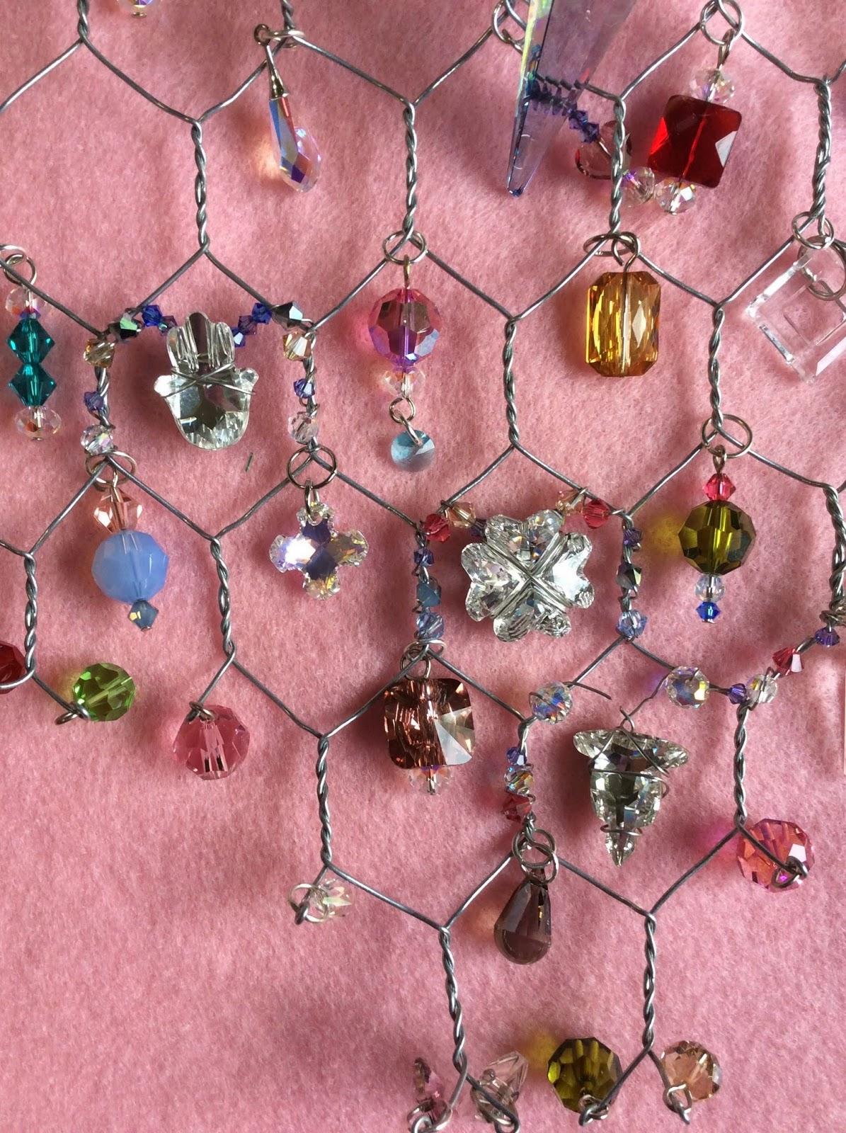 Swarovski beads crystals chicken wire necklace