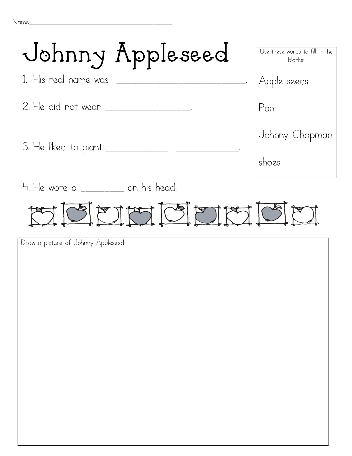 Worksheets Johnny Appleseed Worksheets what the teacher wants youre apple of my eye