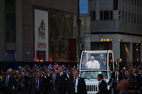Pope Francis in Popemobile (Credit: Damon Winter/The New York Times) Click to Enlarge.