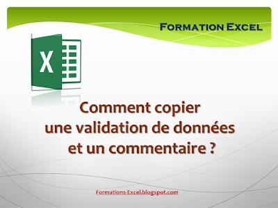 comment copier une validation de données et un commentaire