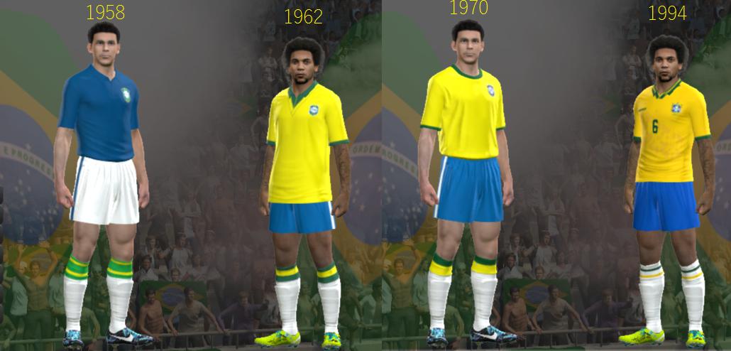 uniformes - clássicos classic kits - seleção brasileira 1958 + 1962 + 1970 + 1994 pes 2014 pc