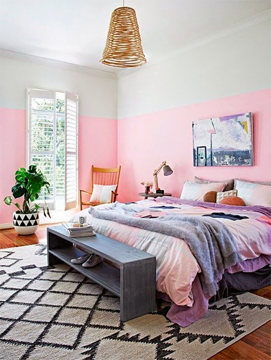 parede rosa no quarto