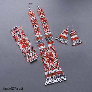 Купить гердан гайтан с русским народным славянским орнаментом красно белый