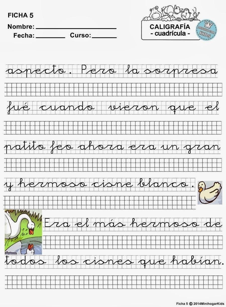de caligrafía para aprender a escribir en hojas cuadriculadas. Para