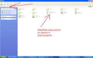 detalhes de login no painel de controle