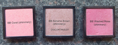 Bobbi Brown shimmery blush Coral, Bahama Brown, Washed Rose