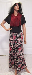 LDS Sister Missionary Maxi Jersey Knit Skirt with Cranberry Print  Flowers on a Black Background