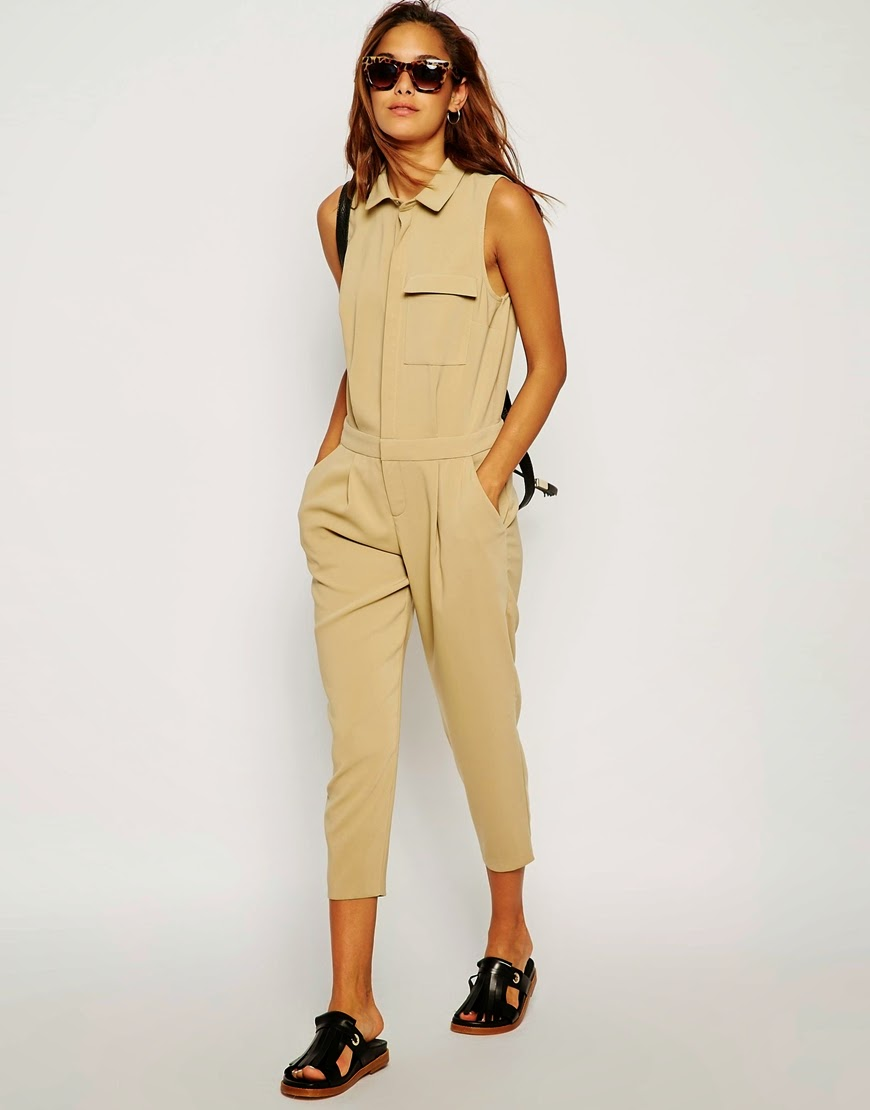 sleeveless jumpsuit, shirt jumpsuit, collar jumpsuit,