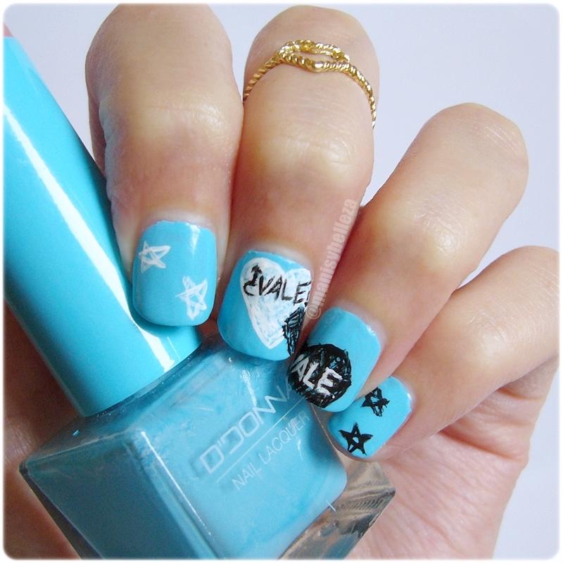 Uñas nail art manicura Bajo la misma estrella blme tfios The fault in our stars John Green nails of the day notd blue azul reto colores