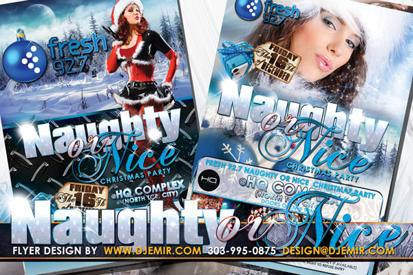 Naughty or Nice Sexy Santa Christmas Party Flyer Design