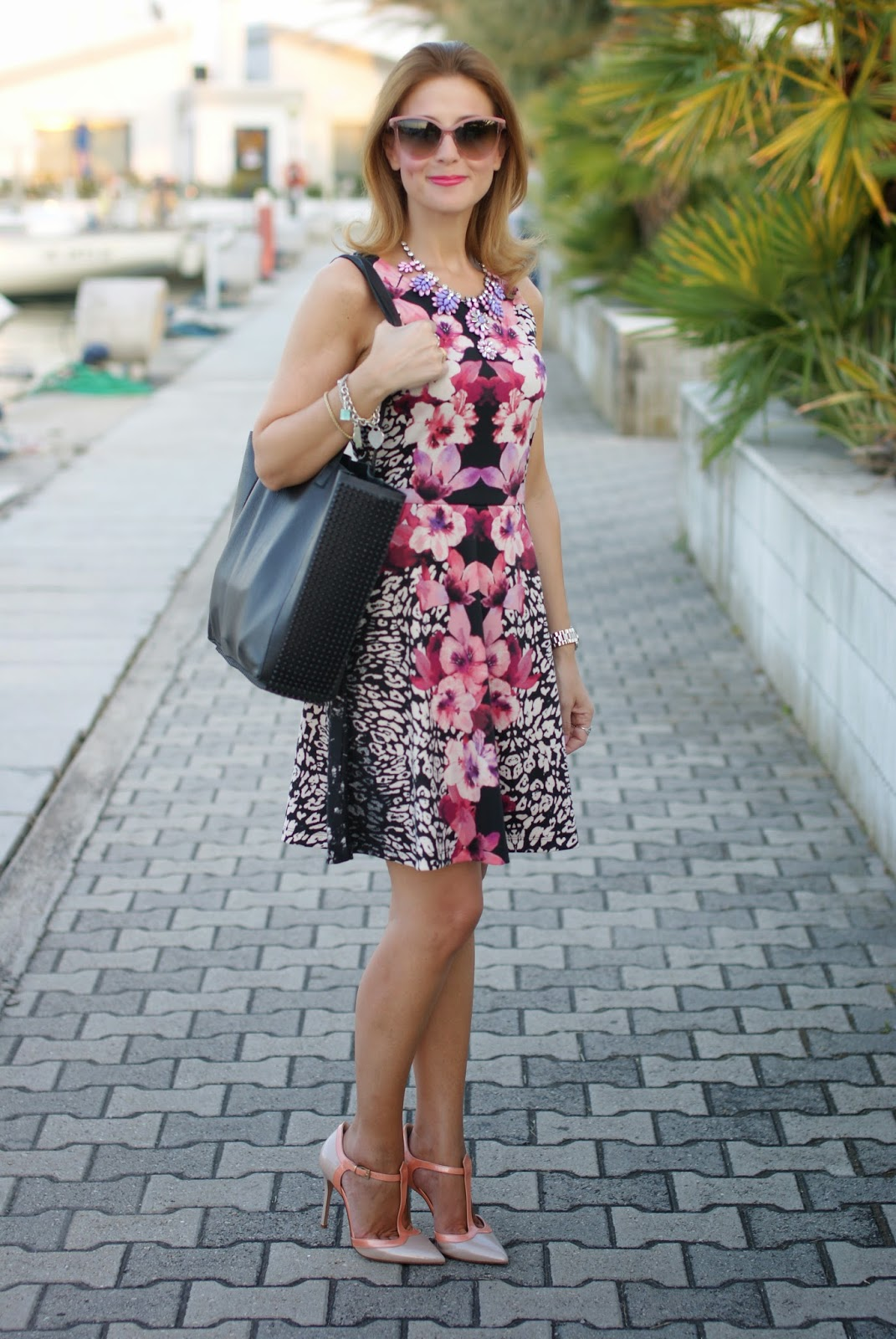 pink jacket, h&m tropical dress, sergio levantesi shoes, low cost outfit, Fashion and Cookies, fashion blogger