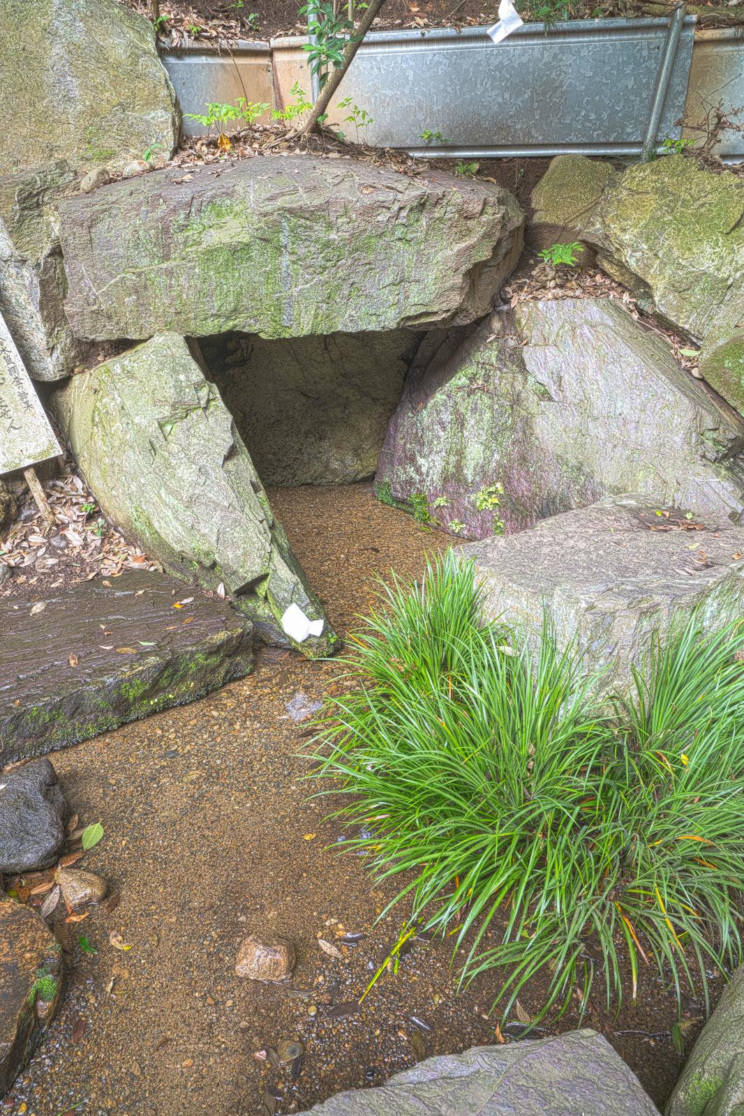 ハケ(国分寺崖線)下の岩の間から湧出する湧水の写真