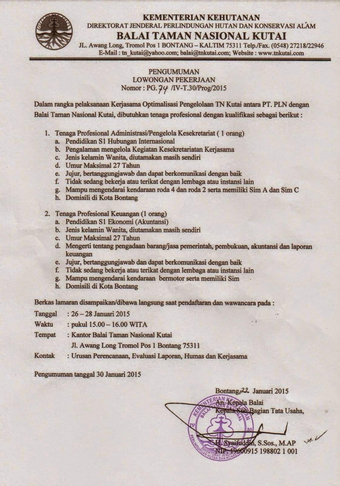Lowongan Kerja Balai Taman Nasional Kutai Bontang