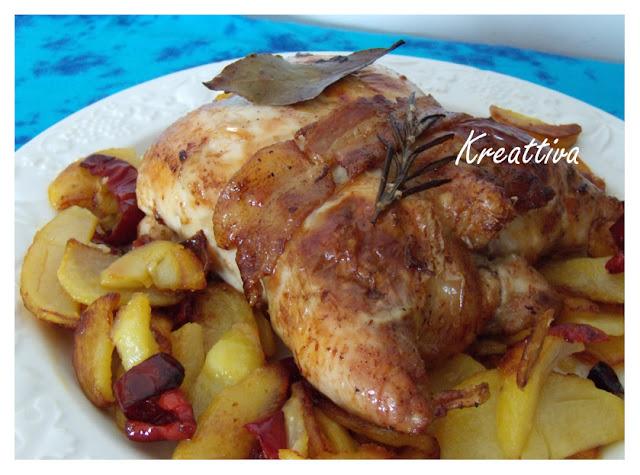 Pollo ripieno allo zenzero con patate al forno con peperoni