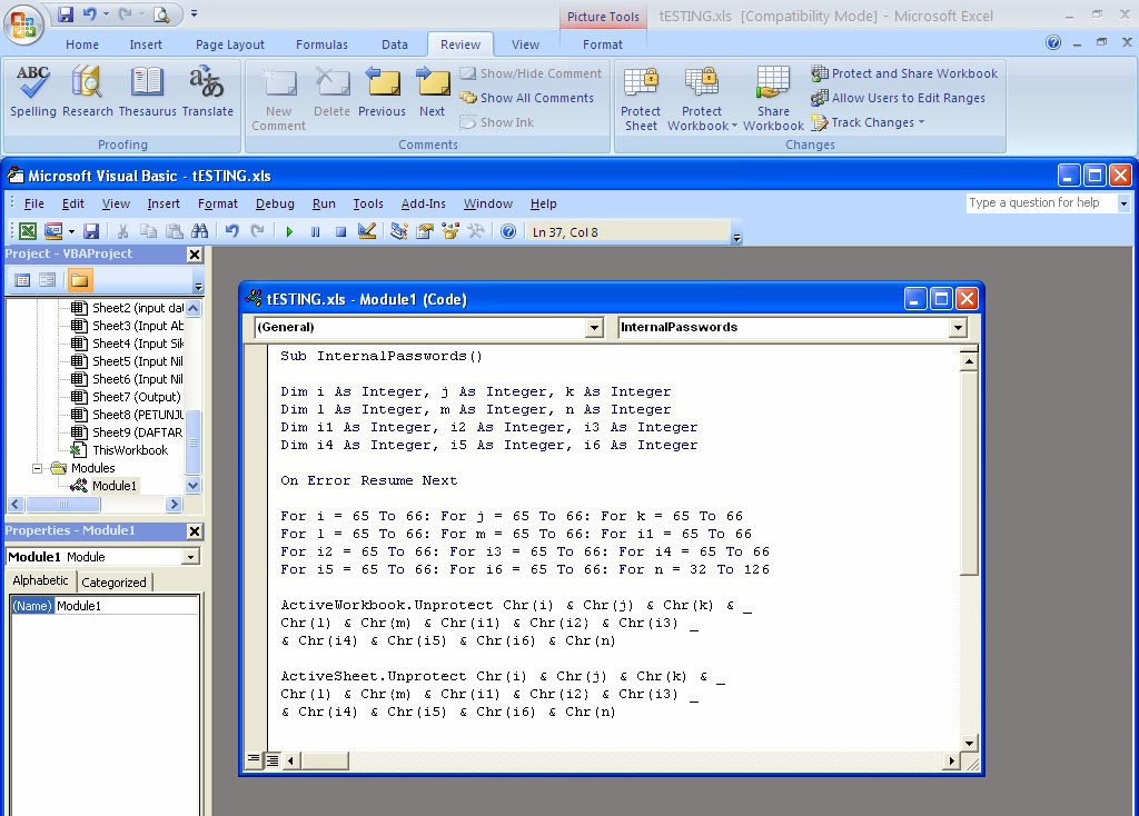 Cara Membuka Password Protect Sheet Excel 2007 - cara
