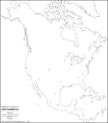 Mapa mudo de America del Norte. Principales ciudades de Norteamerica