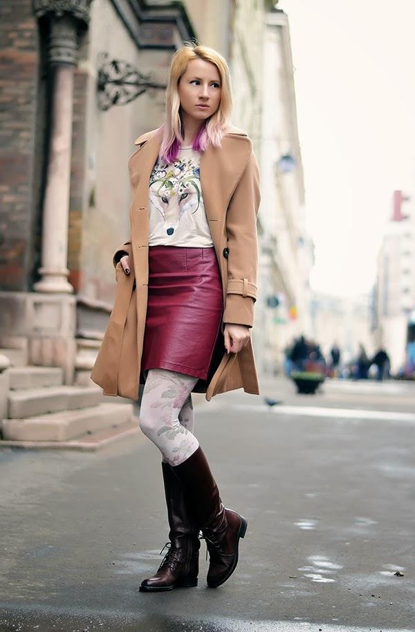 floral t-shirt fox print burgundy leather skirt camel coat