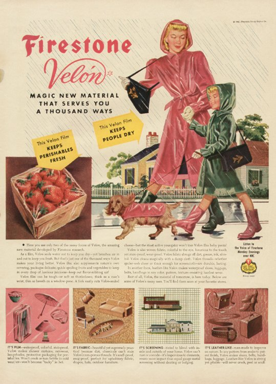 1940s rain fashion advertisement firestone- rain coat