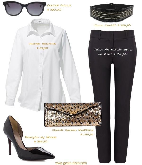 look camisa branca e calça preta