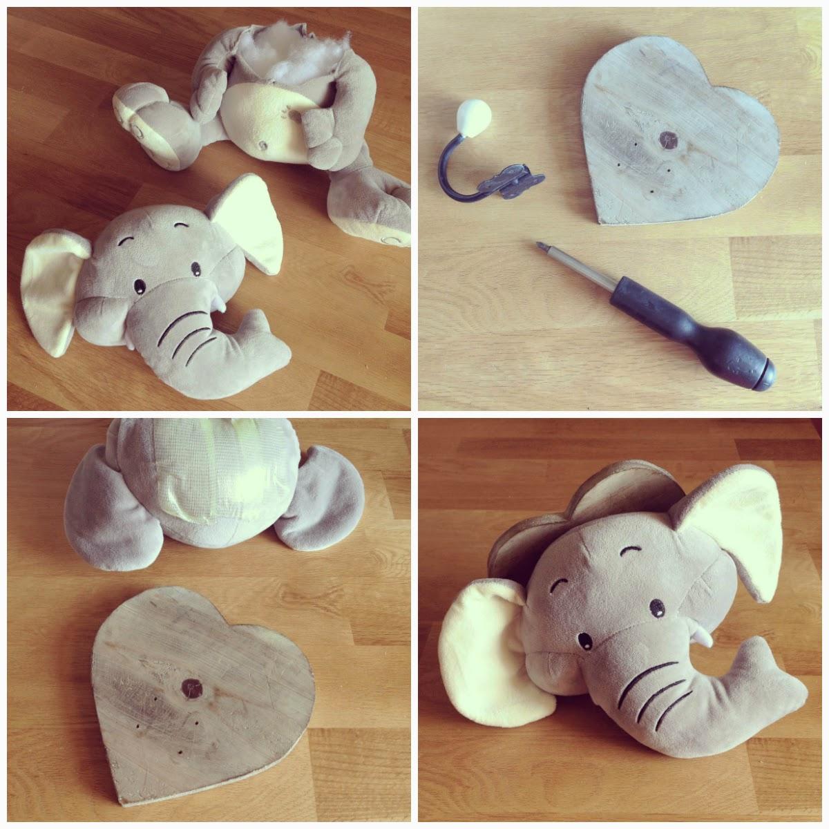 Nina designs parties diy cabeza de elefante taxidermia eco y mil dudas al respecto - Trofeos de peluche ...