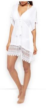 New Look white Textured Crochet Trim Kaftan