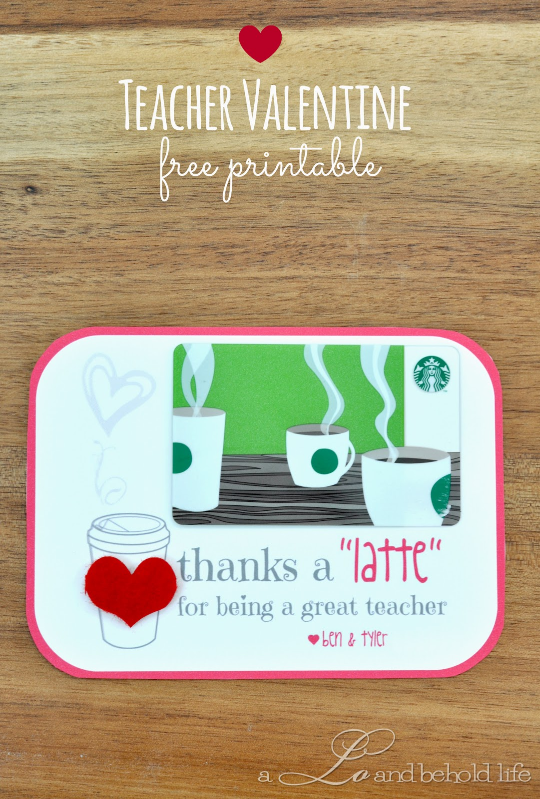 Teacher Valentine Free Printable  A Lo and Behold Life