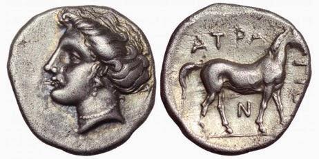 Νόμισμα του Άτραγα (370-360 π.Χ.) με τη νύμφη Βούρα και ένα όρθιο άλογο