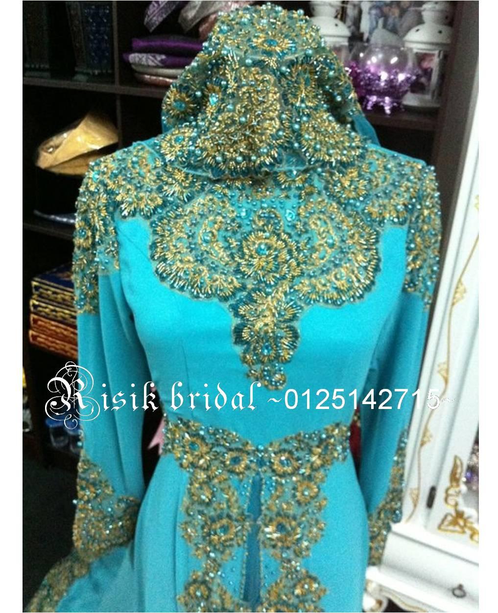 Baju Pengantin Hijau Turquoise