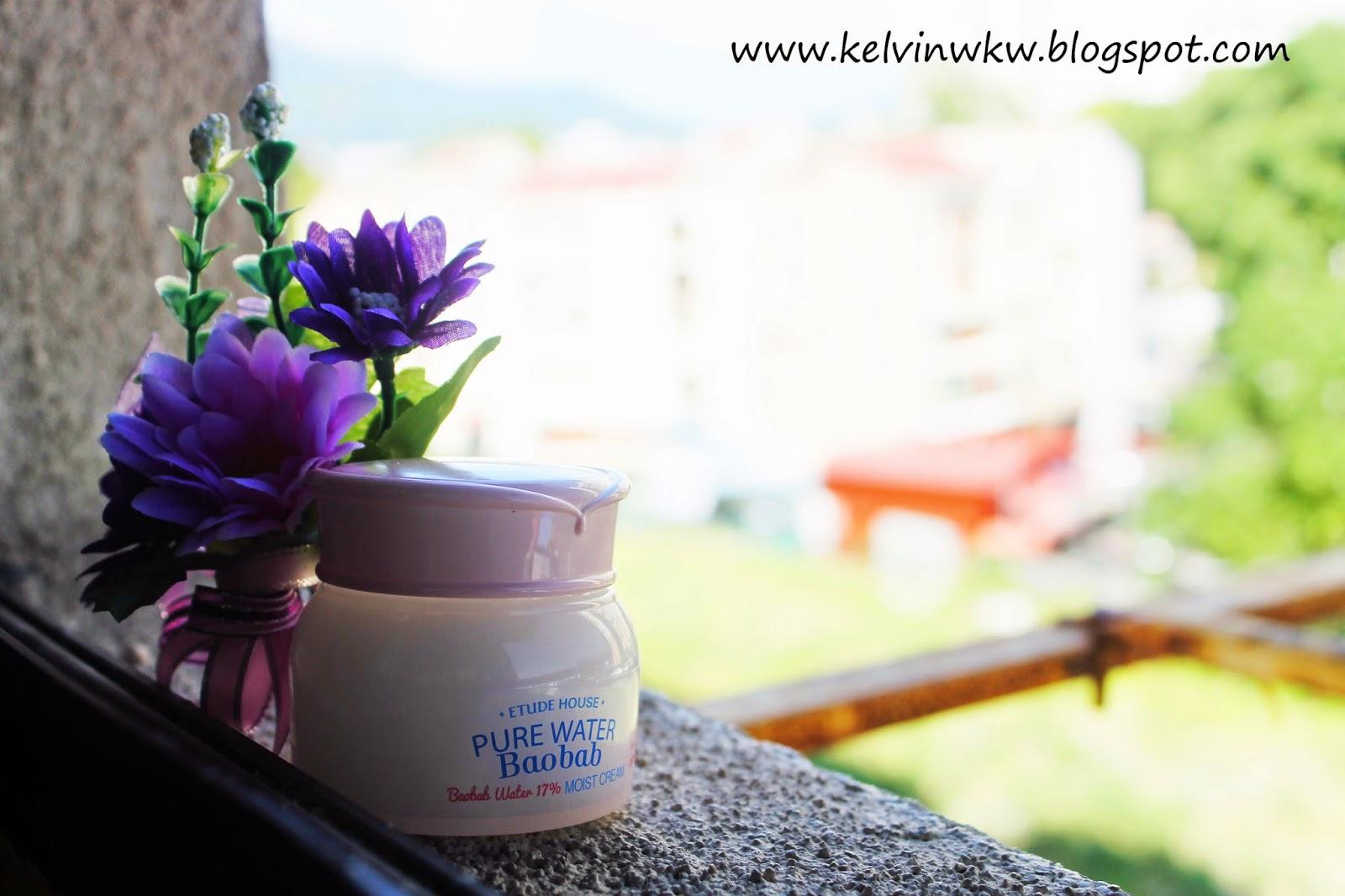 ETUDE HOUSE Pure Water Baobab Cream, Baobab Water 17% Moist Cream Glo Skin Beauty Fill Perfecting Primer - 7ml/0.24oz