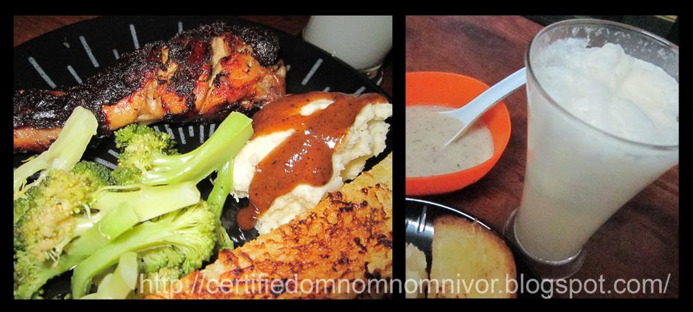 Grilled chicken + steamed broccoli + mashed potato + garlic bread ...