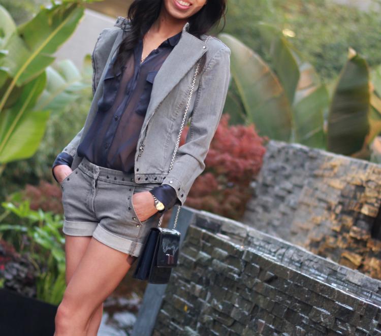 equipment sheer blouse top silk washed silk trim pockets see through denim suit