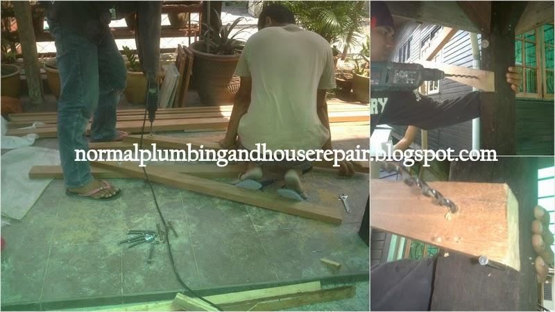 normal plumbing membuat dan memasang siling atap rumbia