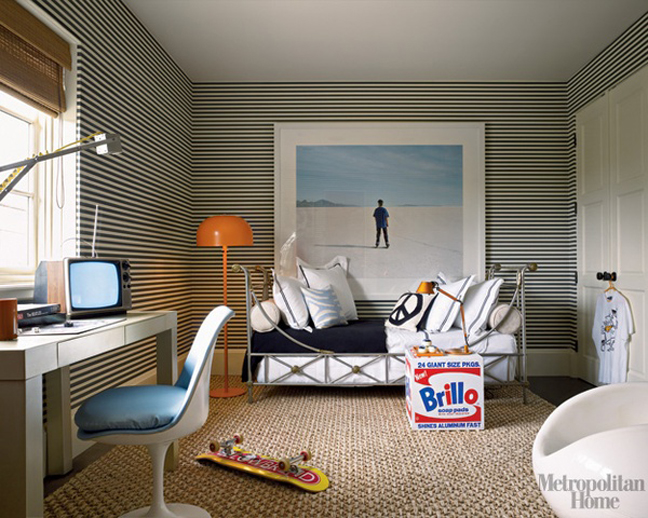 Sophisticated boys bedroom with horizontal striped wallpaper