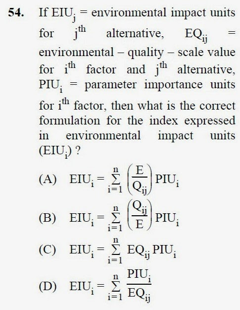 2013 December UGC NET in Environmental Science, Paper III, Question 54