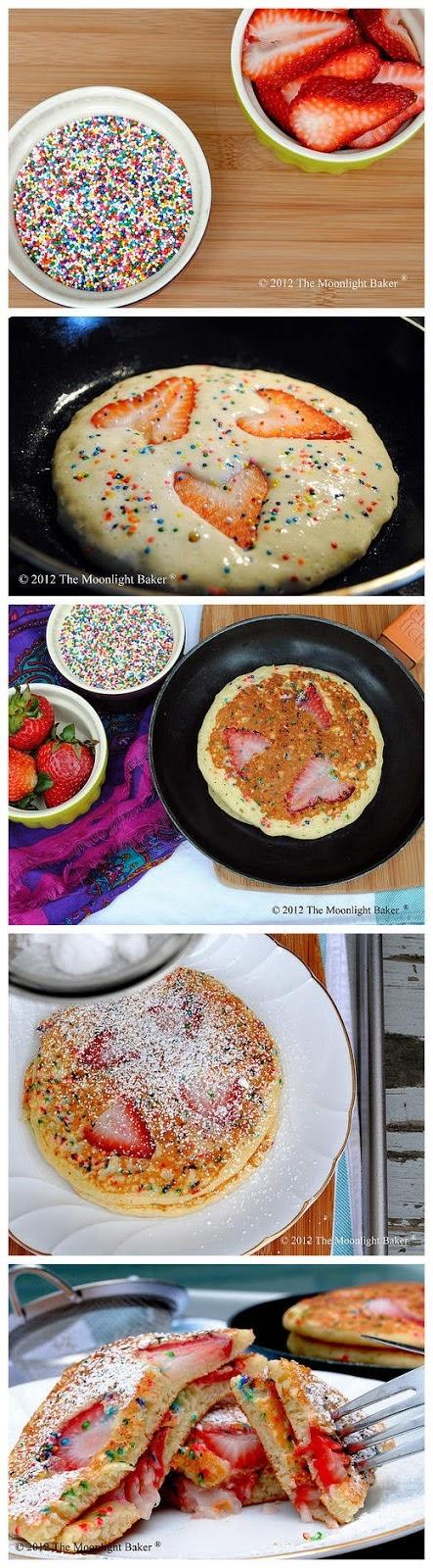 strawberry funfetti pancakes