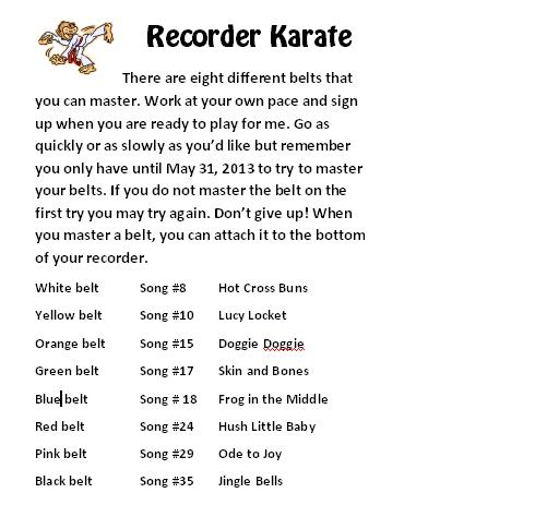 recorder karate songs