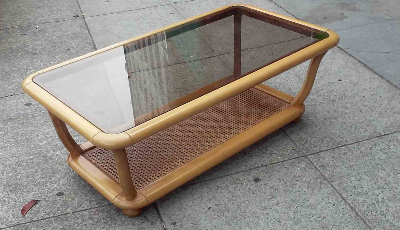 Uhuru Furniture Collectibles Sold Reduced Tropical Coffee Table With Caning 45