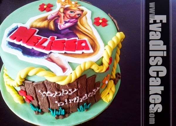 Side view picture of Princess Rapunzel cake