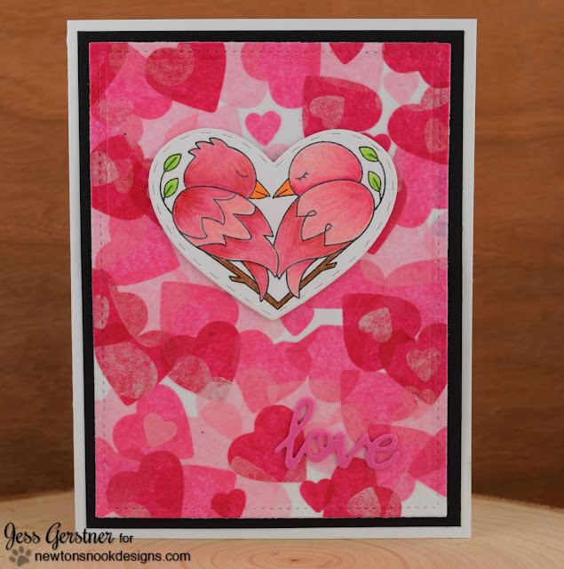 Tissue Paper Heart Valentine Card by Jess Gerstner for Newton's Nook Designs Darling Duos